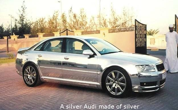 A silver Audi made of silver